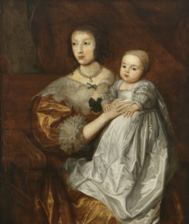 Queen Henrietta Maria (1609–1669) and her son Charles, Prince of Wales, later King Charles II ...