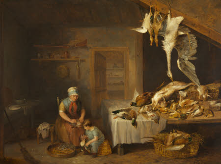 Game Larder with Dead Game, an Old Woman plucking a Partridge and a Boy