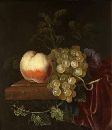A Peach and Grapes on a Ledge
