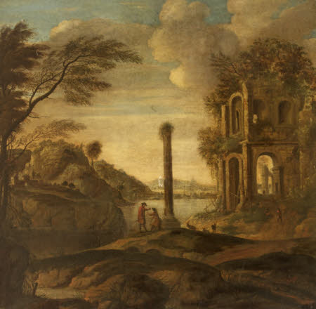 Figures conversing in a Capriccio of Ruins in an Estuary Landscape
