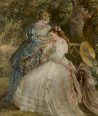 Kate Terry (1844-1924) and Dame Ellen Terry (1847-1928) on a Garden Seat in 'The Hunchback' by ...