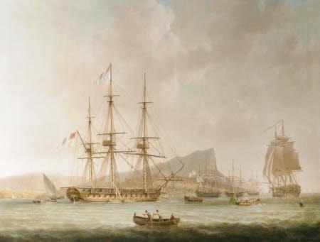'La Sybil', a Man-of-War at Anchor off Gibraltar