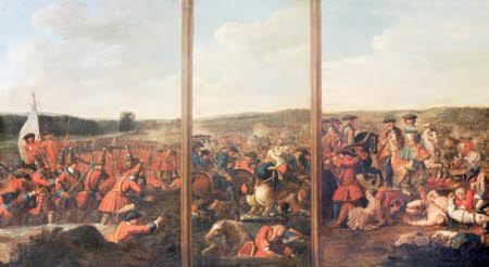 A Triptych of Scenes from the Battle of Blenheim, 1704: (1) The Attack of the Village (2) A Brigade ...