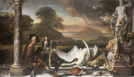 Still Life of Dead Game in a Landscape with Huntsman