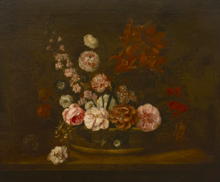 Still Life with Flowers in a Basket on a Ledge