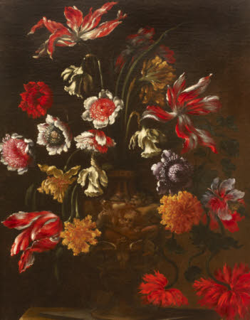 Still Life with Flowers in a Sculptured Urn on a Pedestal