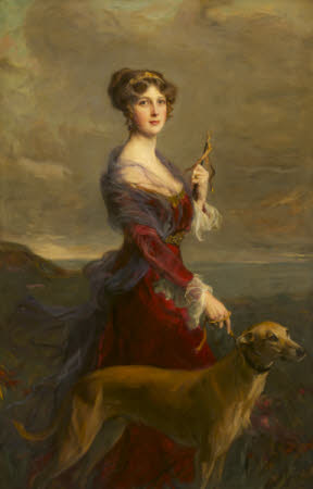 Lady Edith Helen Chaplin, Marchioness of Londonderry (1878-1959) with her Favourite Hound, Fly