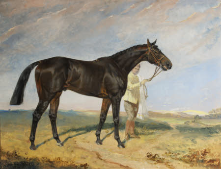 Columcille, a Bay Racehorse, held by a Groom in a Landscape