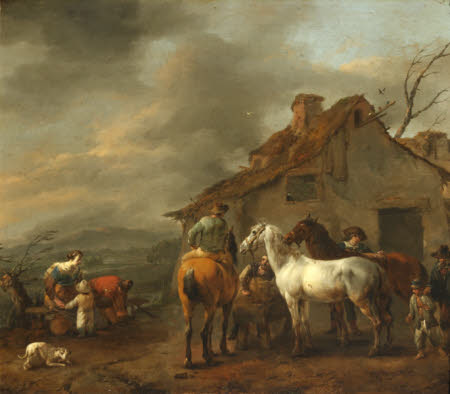 Horsemen and Peasants before a Cottage