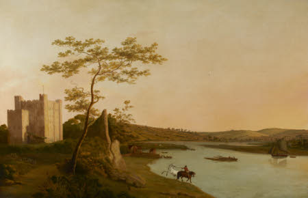 View of Rochester Castle on the River Medway