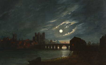 Rochester Castle and Bridge by Moonlight