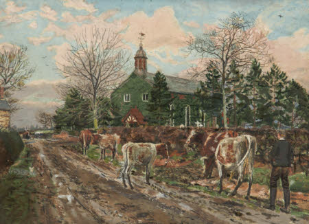 A Boy herding Cows outside a Church