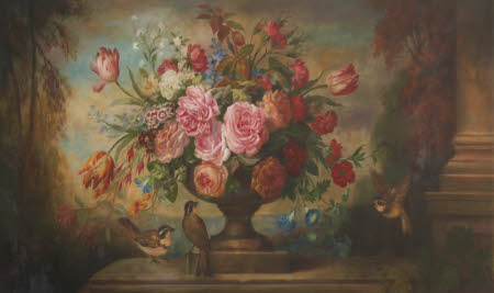Floral Still Life in an Urn, in a Landscape, with Birds