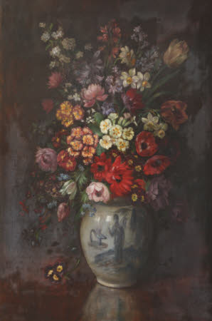 English Spring Flowers in a Chinoiserie Vase