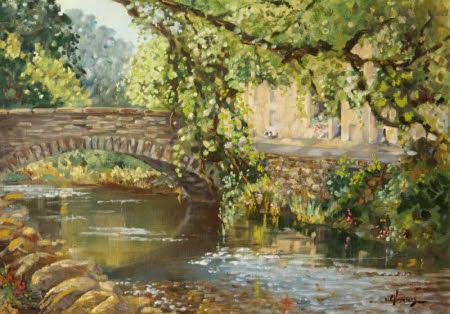 River Scene with a Bridge