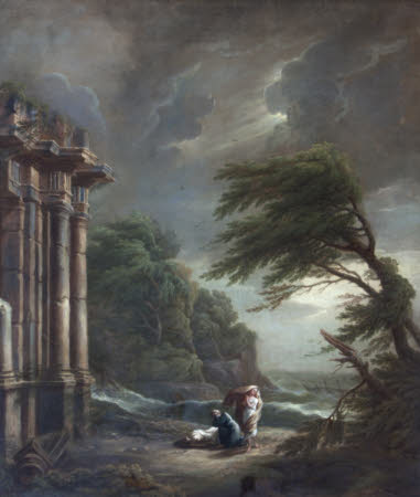 Stormy Seashore with Ruined Temple, Shipwreck and Figures