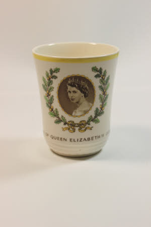 Beaker commemorating the coronation of Queen Elizabeth II (b.1926)
