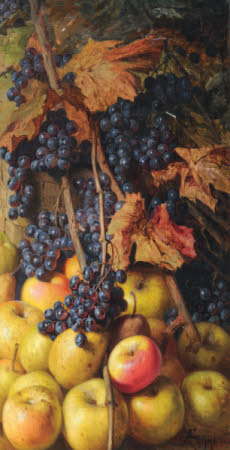 Still Life of Apples and Grapes