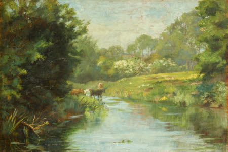 A River Scene with Cows