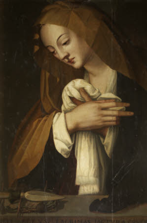 The Madonna weeping over the Instruments of the Passion
