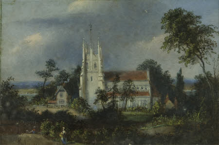 A Church and Cottage in a Landscape