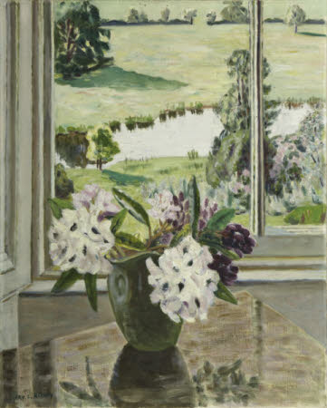 Rhododendron Flowers in a Vase with a View through a Window