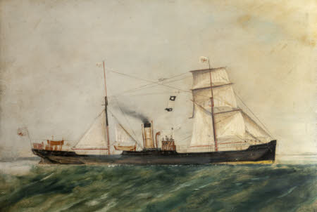 A Brigantine-rigged British Steamship