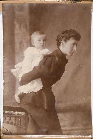 Winifreda Jane Adye, Lady Armstrong (1860-1914) with probably) her son William John Montagu ...