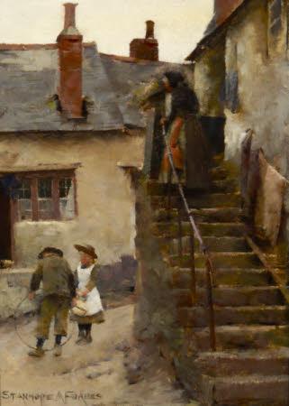 Children in a Newlyn Street
