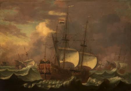 Dutch Galleons on a Stormy Sea