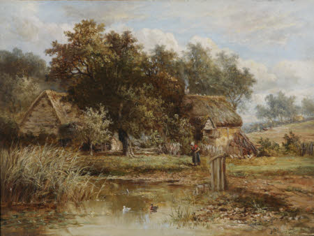 Cottages beside a Pond, with an Old Woman