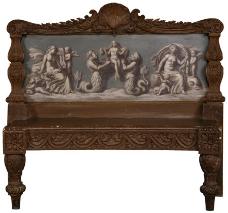 Pine bench by Henry Flitcroft (1697 - 1769)  with painted classical scene by William Hoare of Bath, ...