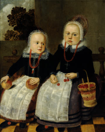 Two Dutch Children, holding apples and cherries and a straw bag