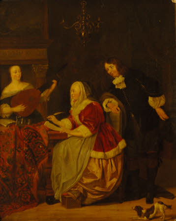 A Young Woman composing Music, observed by a Man, another Woman playing the Lute (after Metsu)