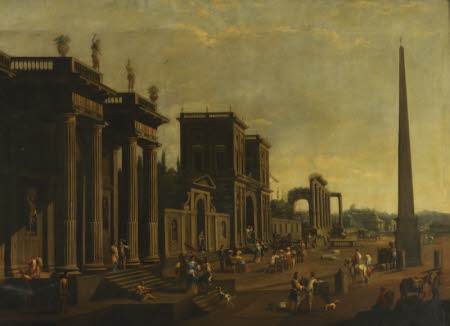 An Architectural Capriccio with Figures and an Oblelisk