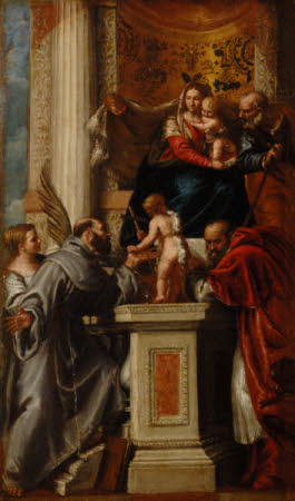 The Holy Family with the Infant John the Baptist and Saints Justina, Francis and Jerome