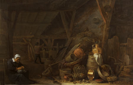 A Barn with a Still Life of Kitchen Utensils and a Sleeping Cook