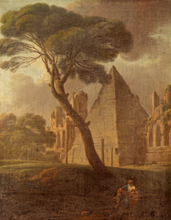 The Pyramid of Cestius with a Figure resting by a Stout Pine