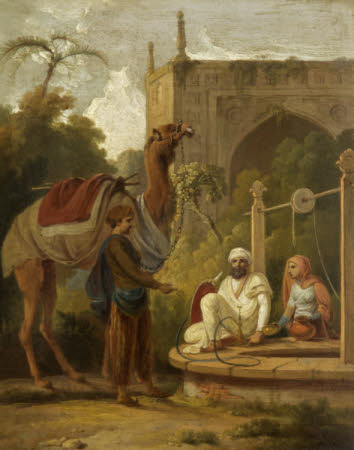 Indian Scene of Figures and a Camel at a Well