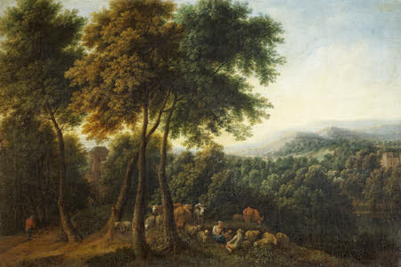 A Wooded Landscape with Peasants and Herdsfolk resting under Trees near a Monument