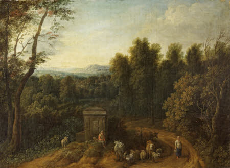 A Wooded Landscape with Peasants and Herdsfolk by a Monument