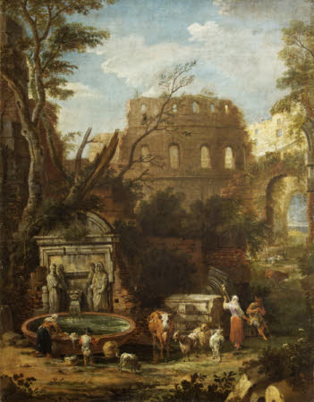 Classical Landscape with Ruins and Peasants by a Fountain