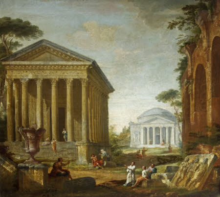 Architectural Capriccio with the Pantheon and the Maison Carrée (manner of Panini)