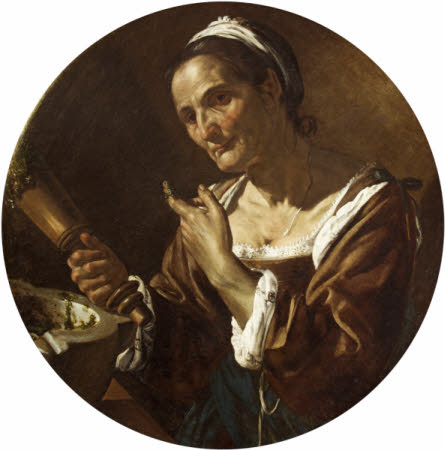 Old Woman with Pestle and Mortar
