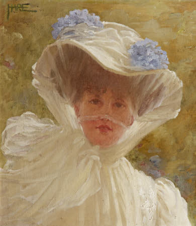Alda Weston, Lady Hoare (d.1947) in a White Hat