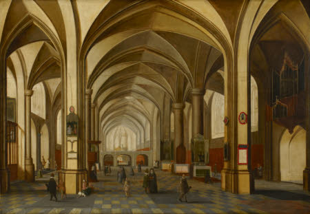 A Church Interior with Figures