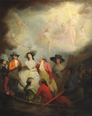 Allegorical Scene with the Prince of Wales, later George IV (1762-1830) and Friends in a Boat: Mrs ...