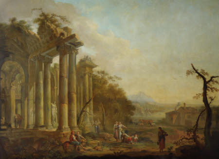 Figures before Ruins with a Statue of Hercules