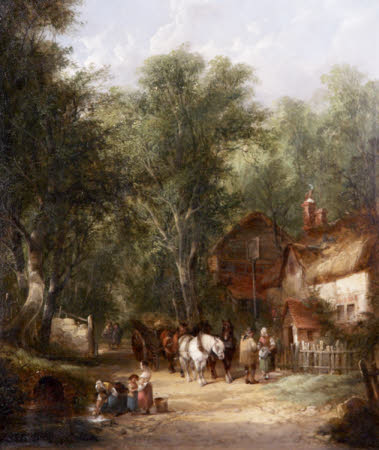 Figures outside a Tavern ('Outside the Inn at Fairfield')