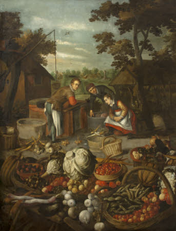 Fruit and Vegetables with Figures in the Background